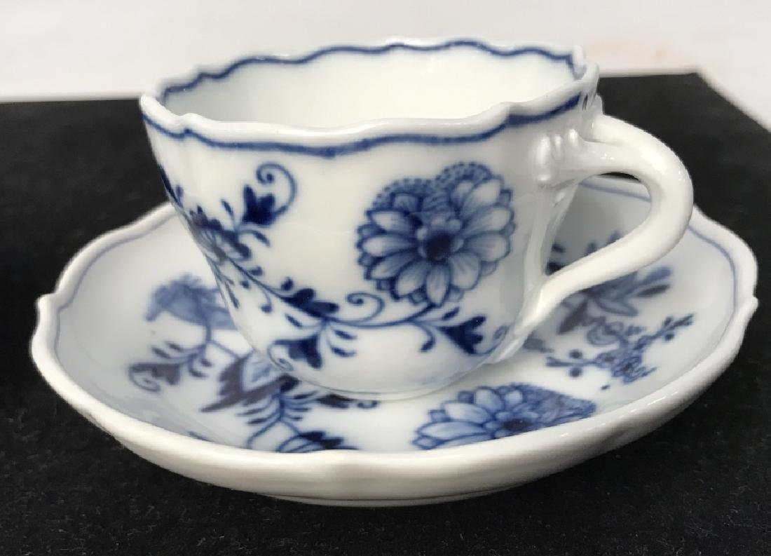 Set of 4 Blue and White Demi Tasse Cups & Saucers