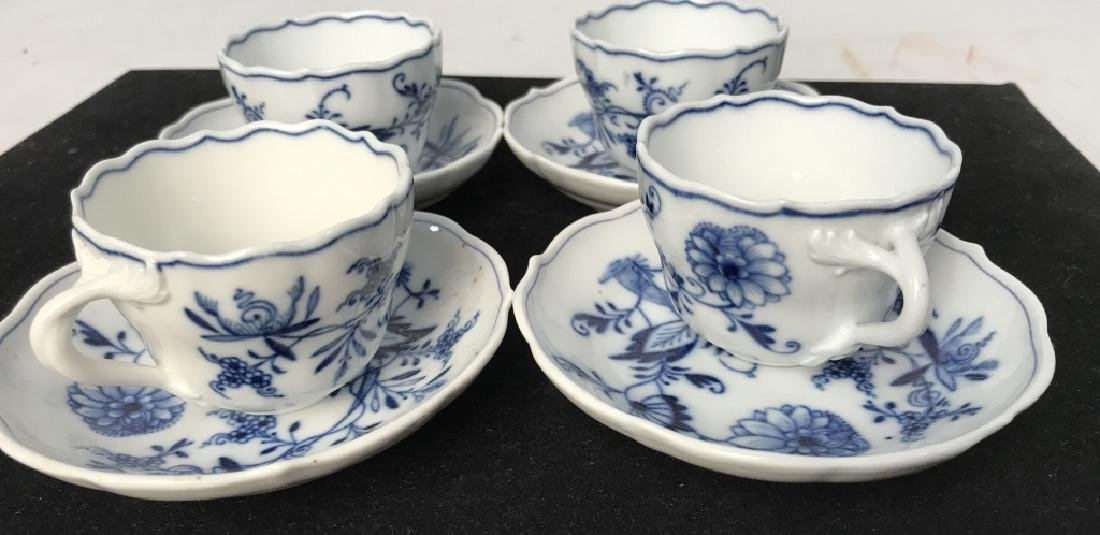 Set of 4 Blue and White Demi Tasse Cups & Saucers - 2