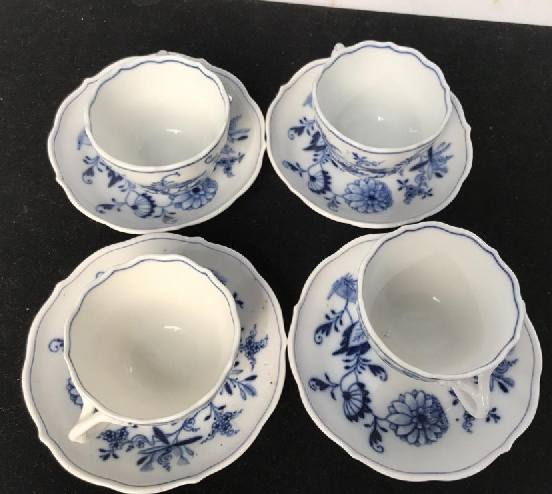 Set of 4 Blue and White Demi Tasse Cups & Saucers - 3