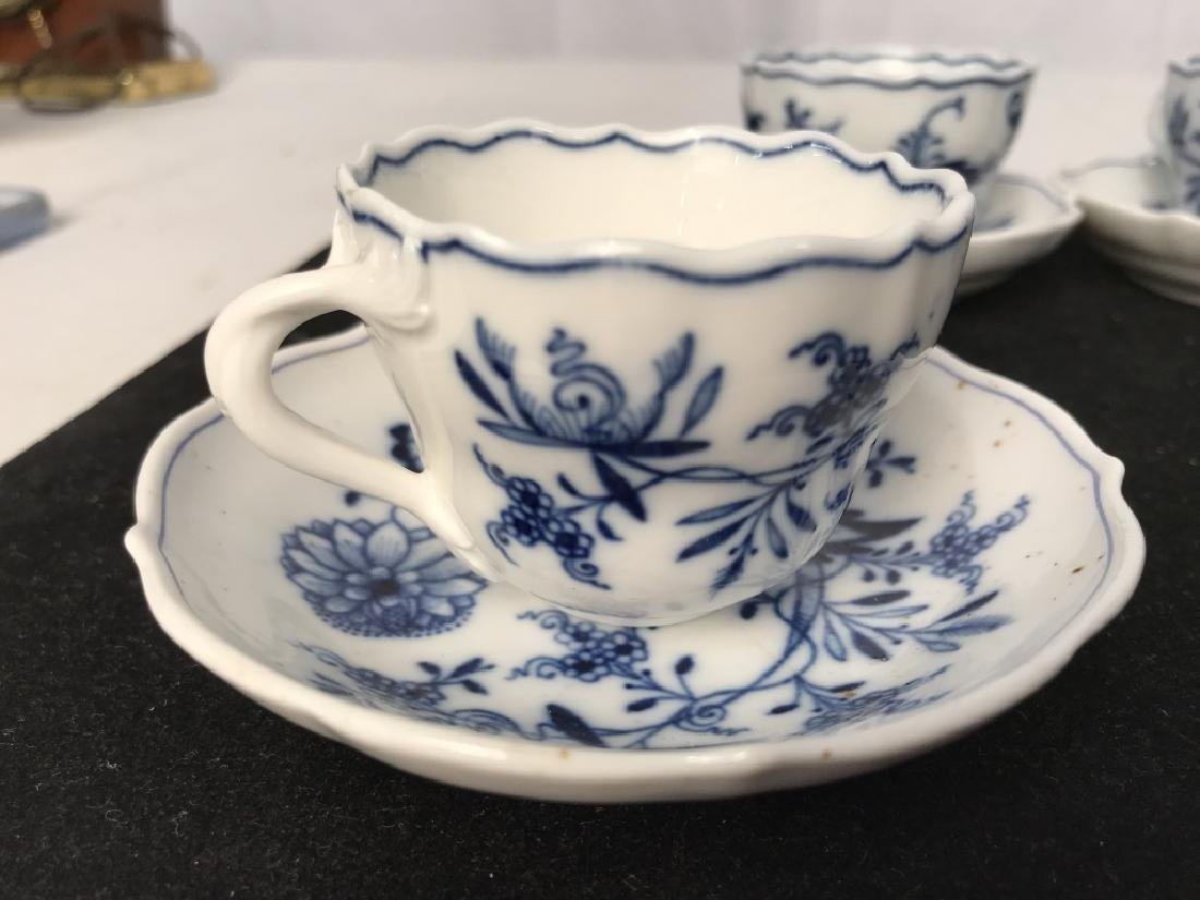 Set of 4 Blue and White Demi Tasse Cups & Saucers - 4