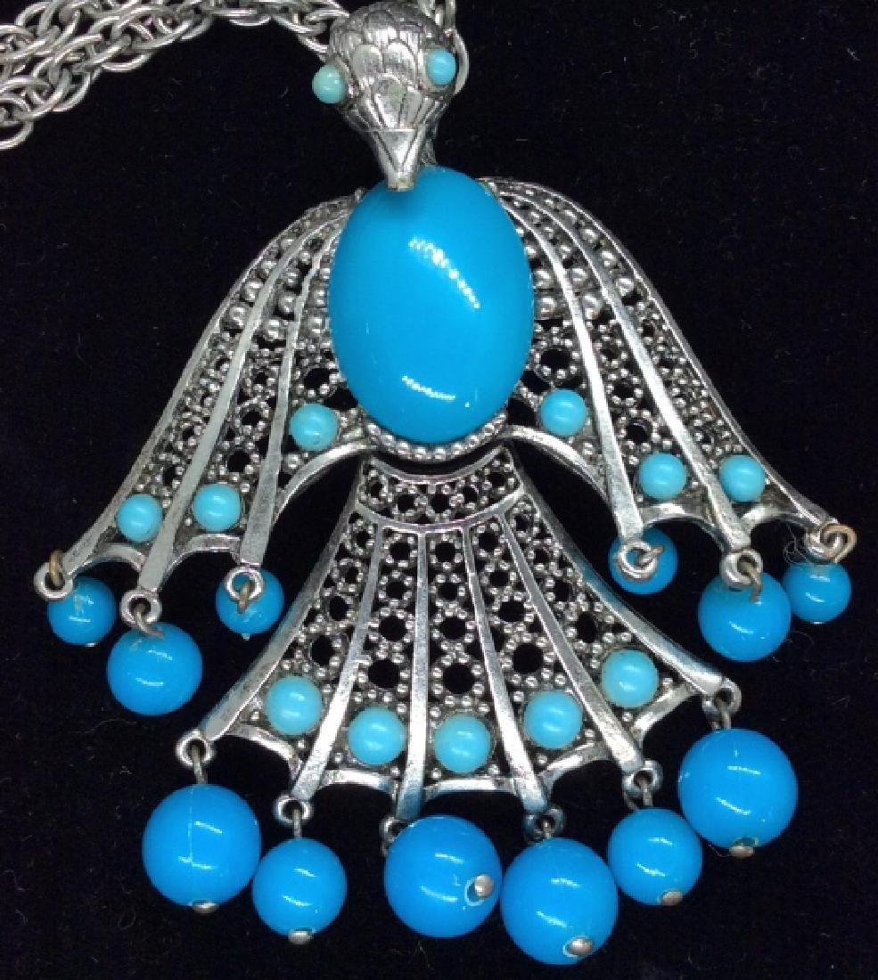 Oversized Bird Figural Pendant Necklace