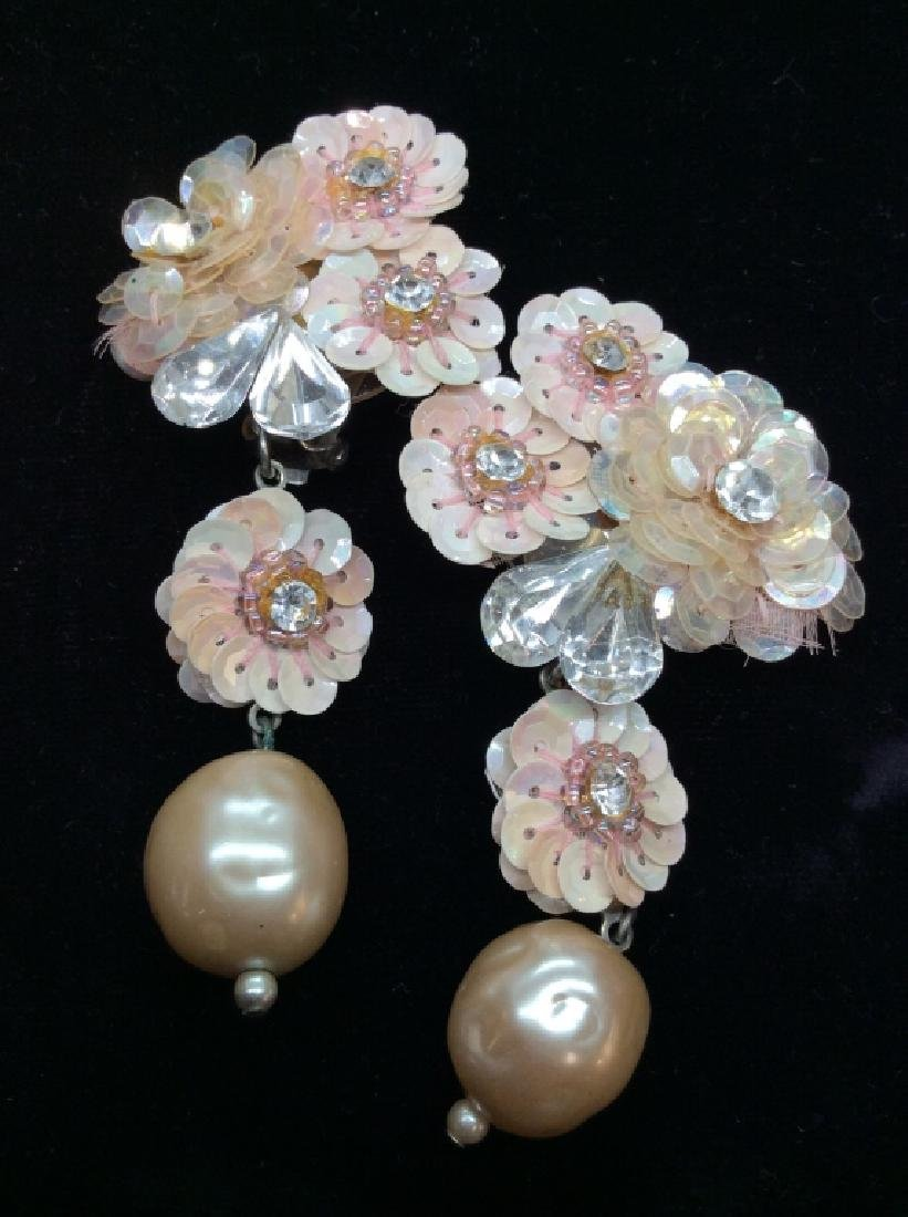 Pink Toned Beaded Floral Ear Clips