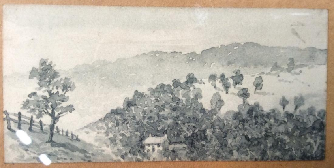 Miniature Painted Watercolor Scene in Frame