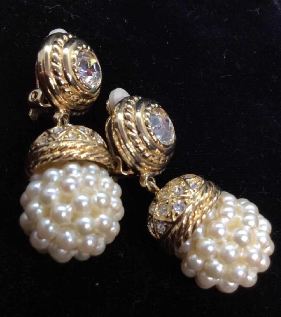 Women's Costume Earrings, Rhinestone w Pearl Style