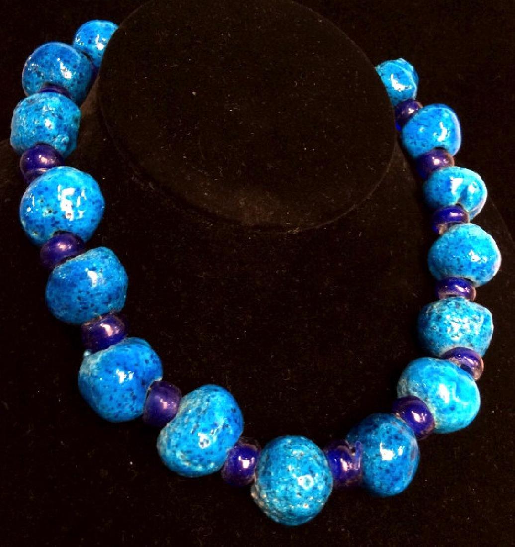 Blue toned Glazed Stoneware Beaded Necklace