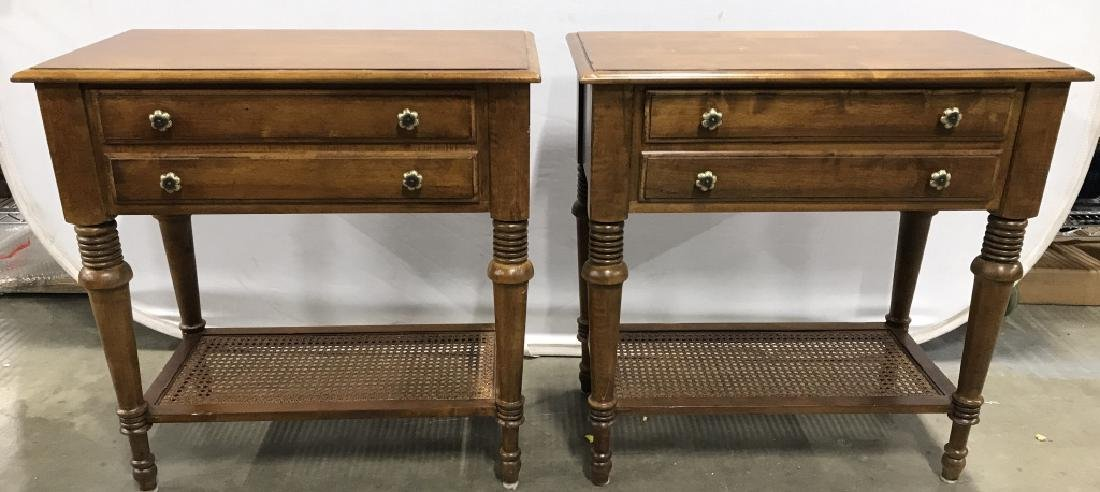 Pair ETHAN ALLEN Carved Wooden Side Tables