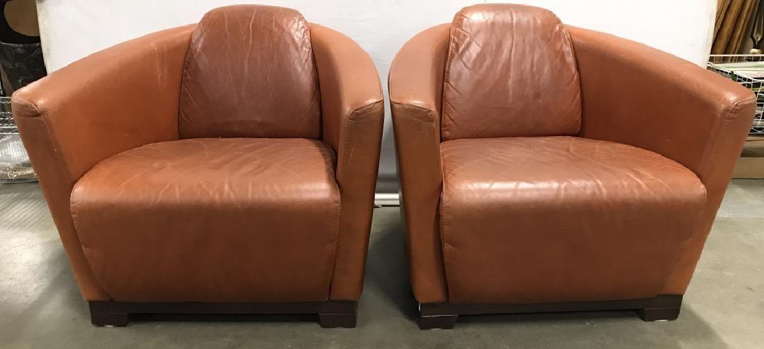 2 CALIA SALOTTI Italian Modern Leather Armchairs