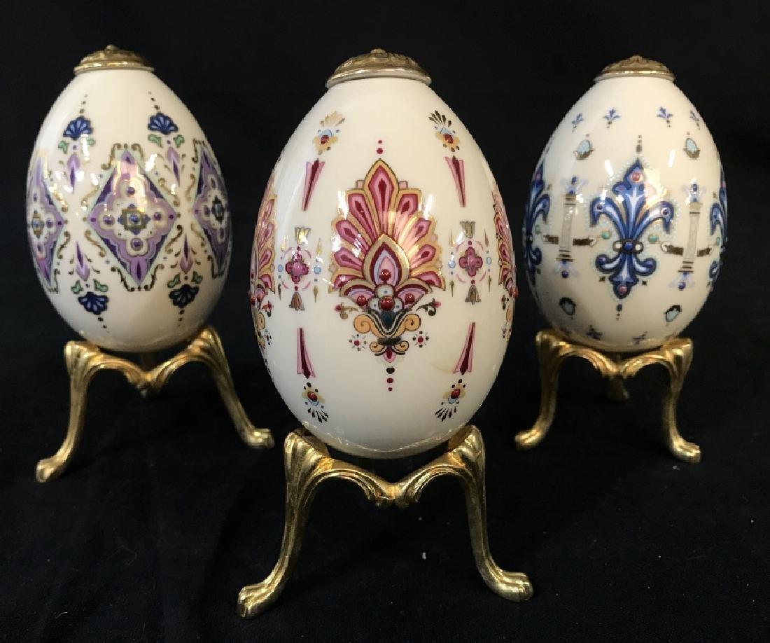 Lot 3 Lenox Painted Porcelain Ceramic Eggs