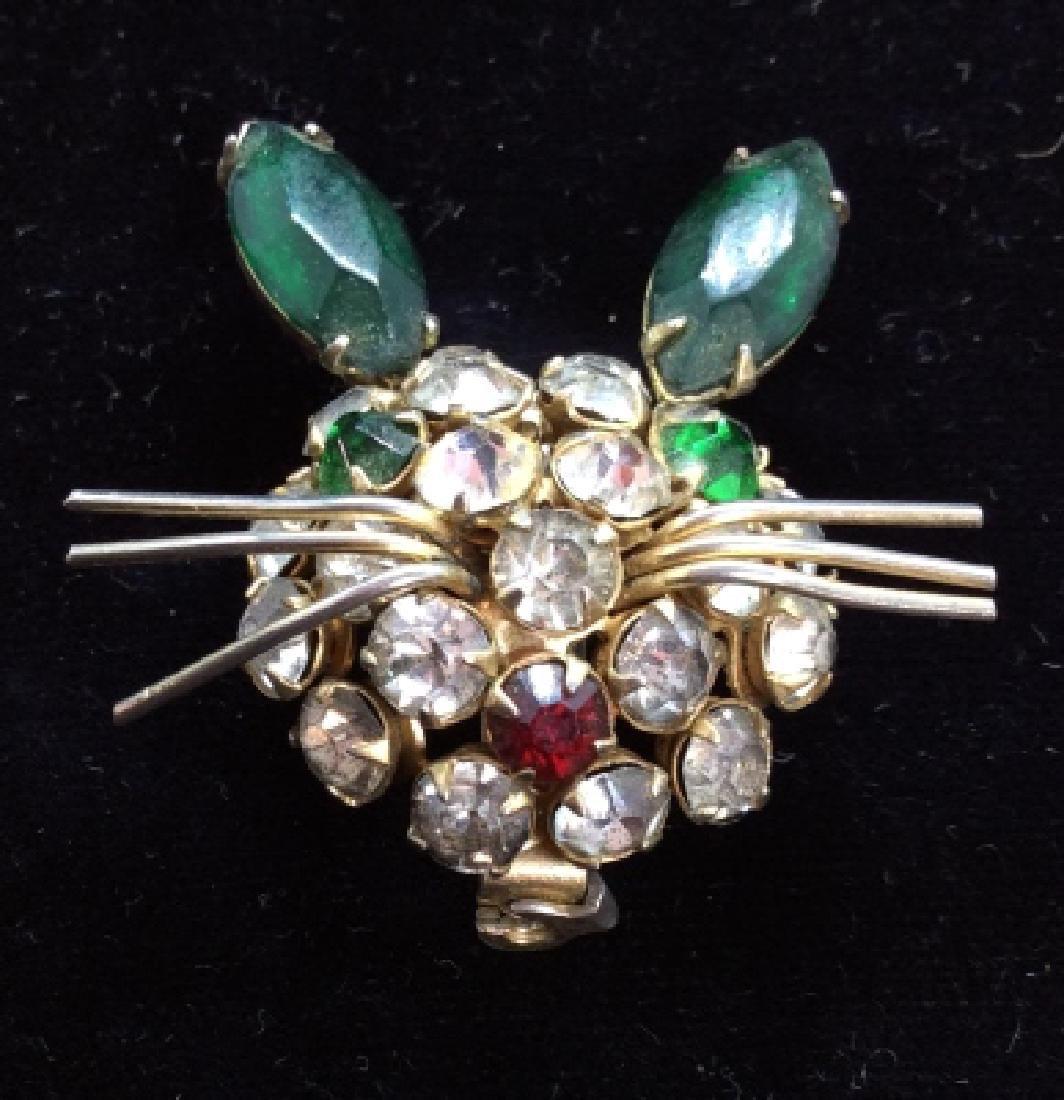 Vintage Rhinestone Rabbit Brooch Pin