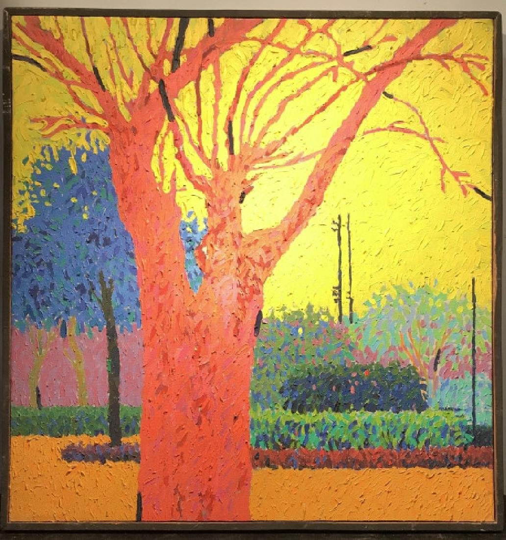 Framed Multi Toned Painting On Canvas Of Tree