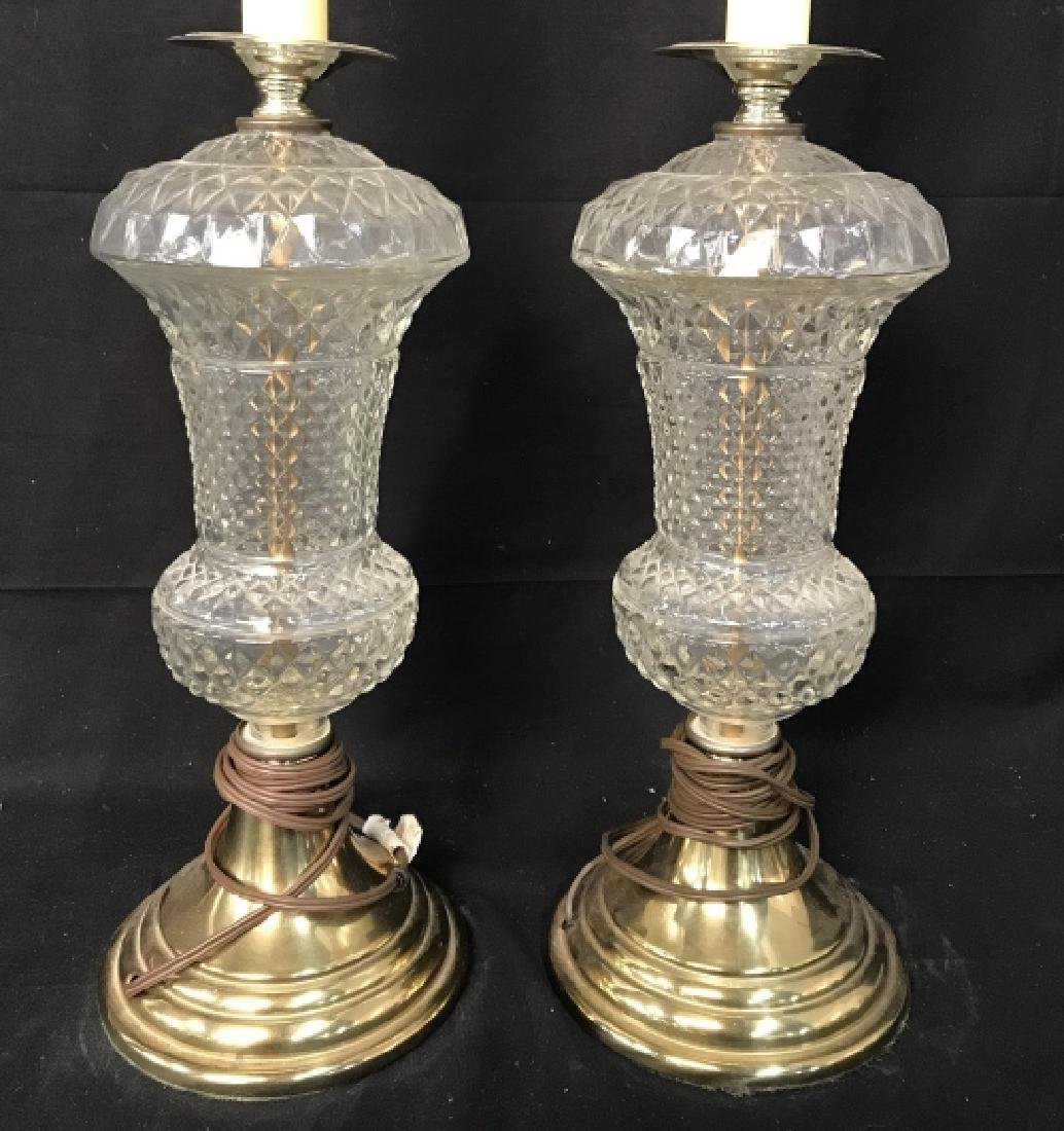 Pair Cut Glass Side Table Lamps