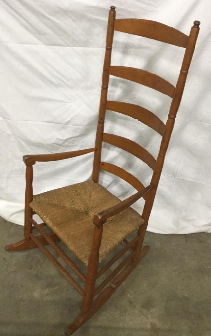 Vintage Ladder Back Rocking Chair W Rush Seat