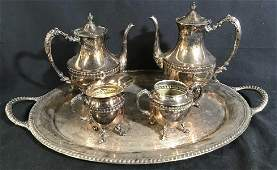 Silver Plate Coffee Tea Service w Tray