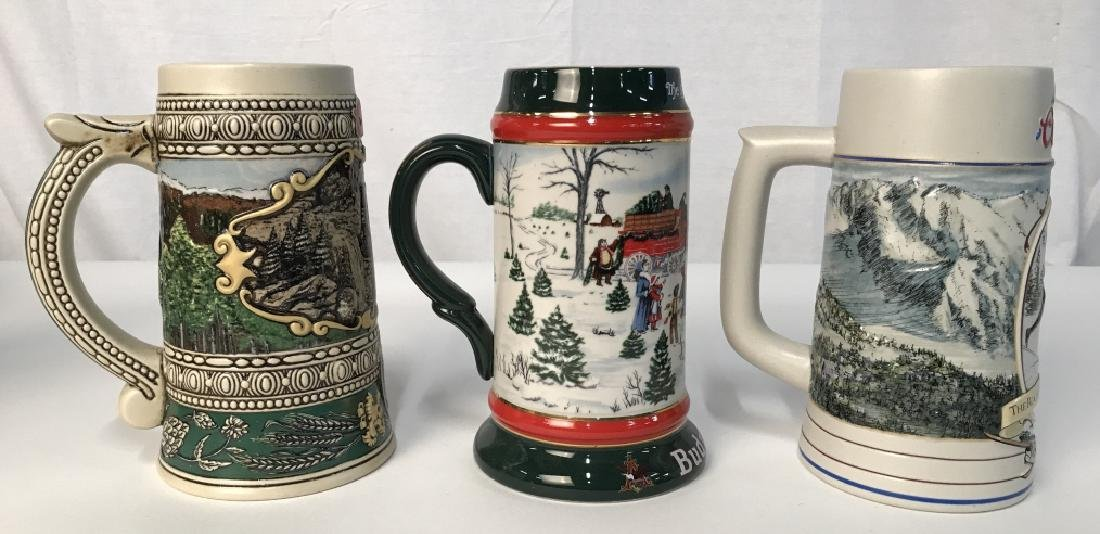 Set 6 Budweiser And Coors Collectible Beer Steins