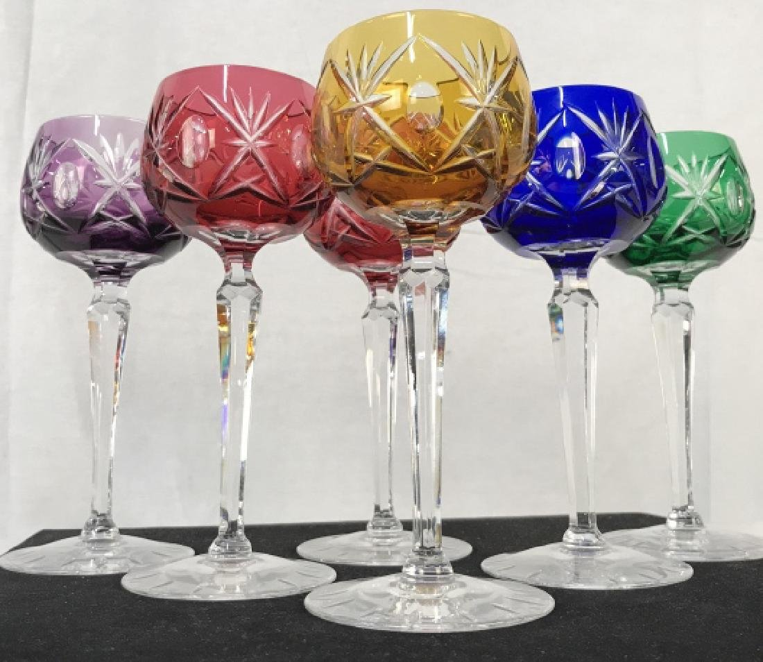 Lot 6 Cut Bohemian Crystal Glass Stemware