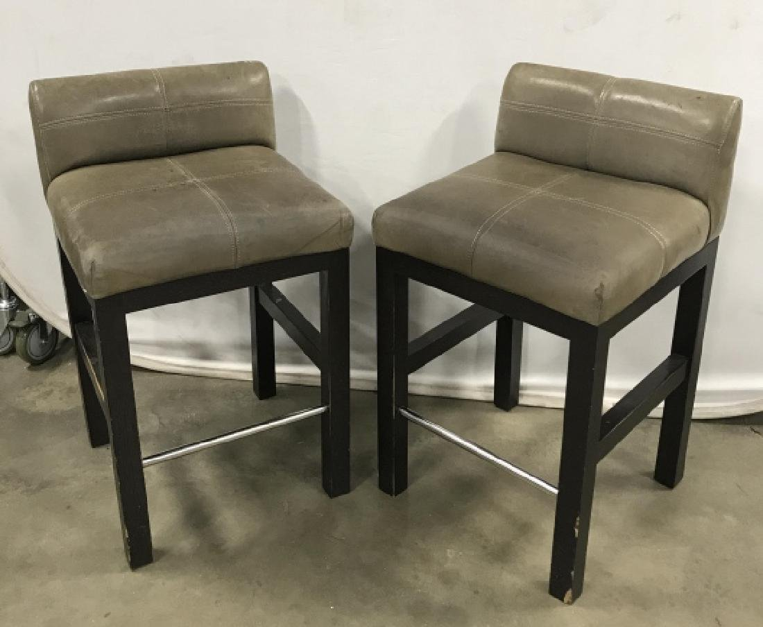 Pair Contemporary Grey Leather Topped Bar Stools