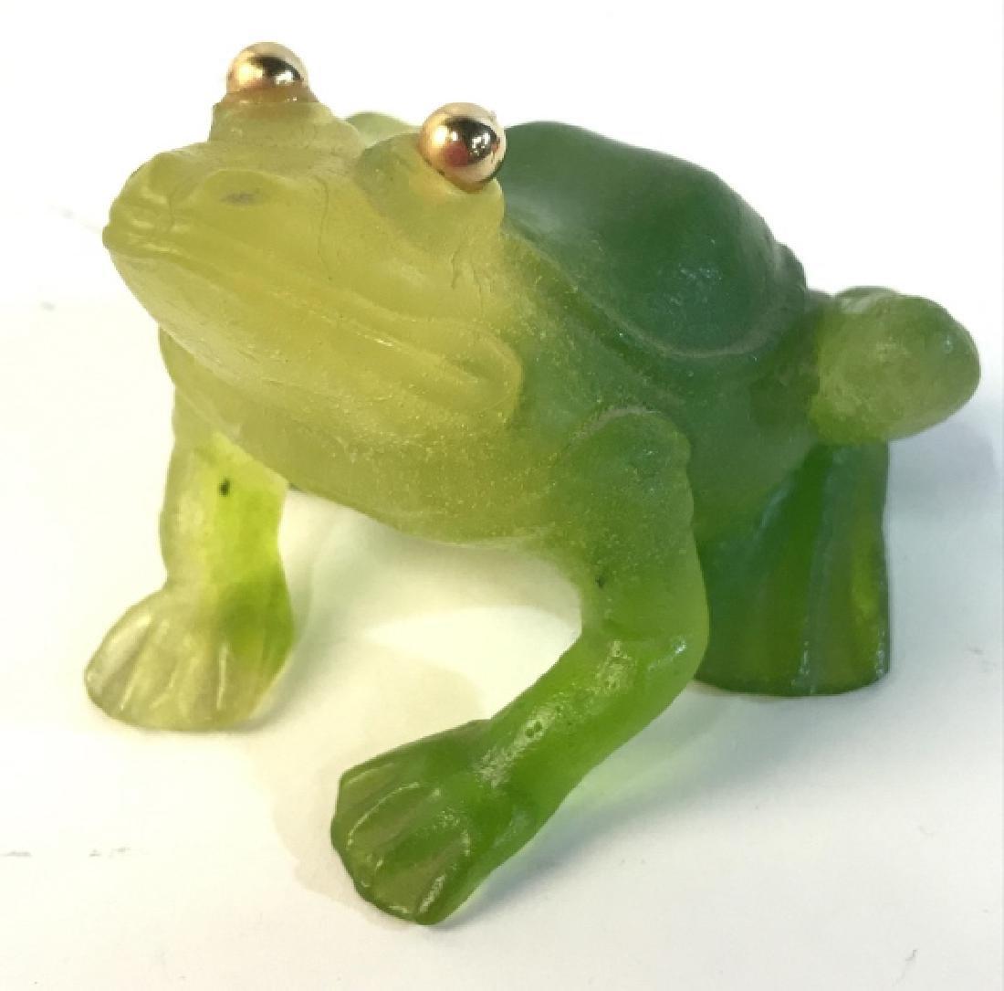DAUM FRANCE Art Glass Frog
