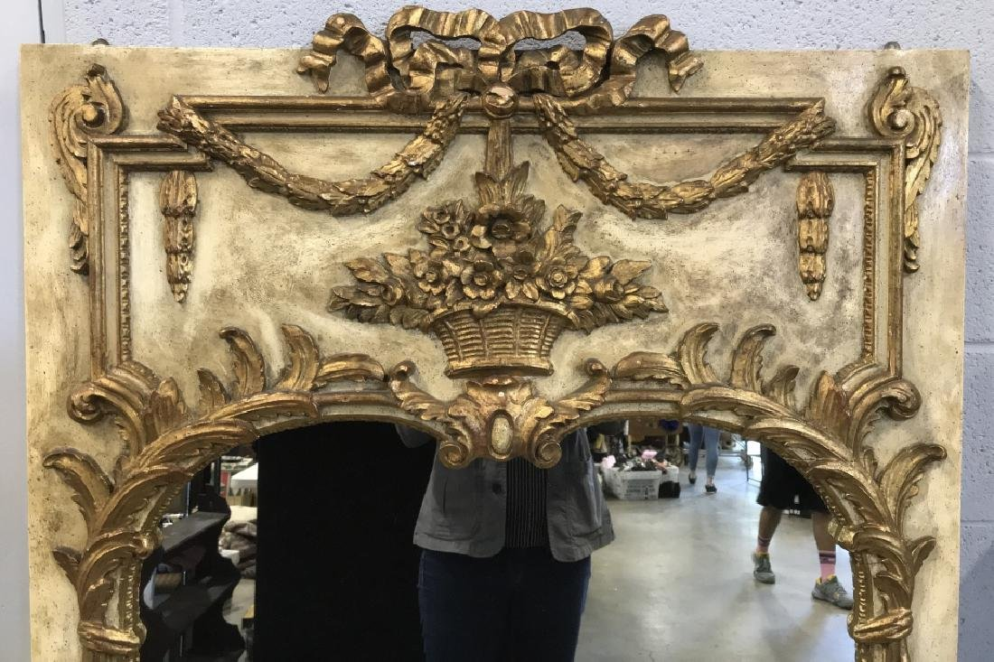 Pos Antique Italian Carved Wooden Wall Mirror