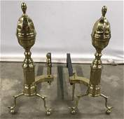 Pair of Brass  Iron Fireplace Andirons