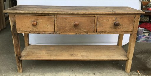 Possibly Antique Rustic Pine Console Table
