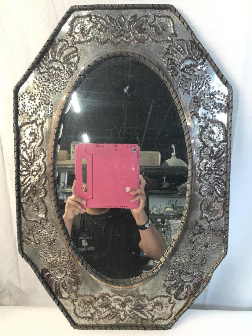 Silver Toned Metal Frame Mirror