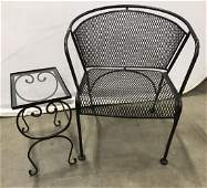 Set 2 Wrought Iron Garden Chair  Side Table