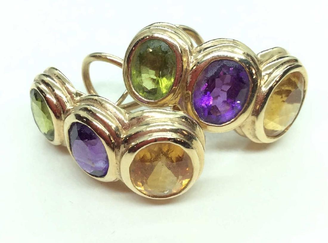RAAFTY 14 K Gold Earrings w SemiPrecious Gemstones
