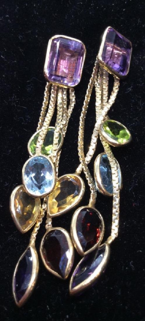 14 K Gold Earrings w SemiPrecious Gemstones