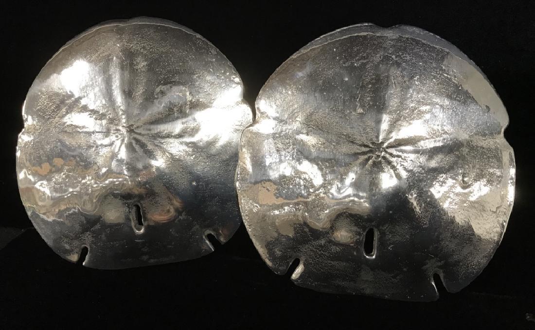 Pair Silver Toned Metal Sand Dollar Seashells