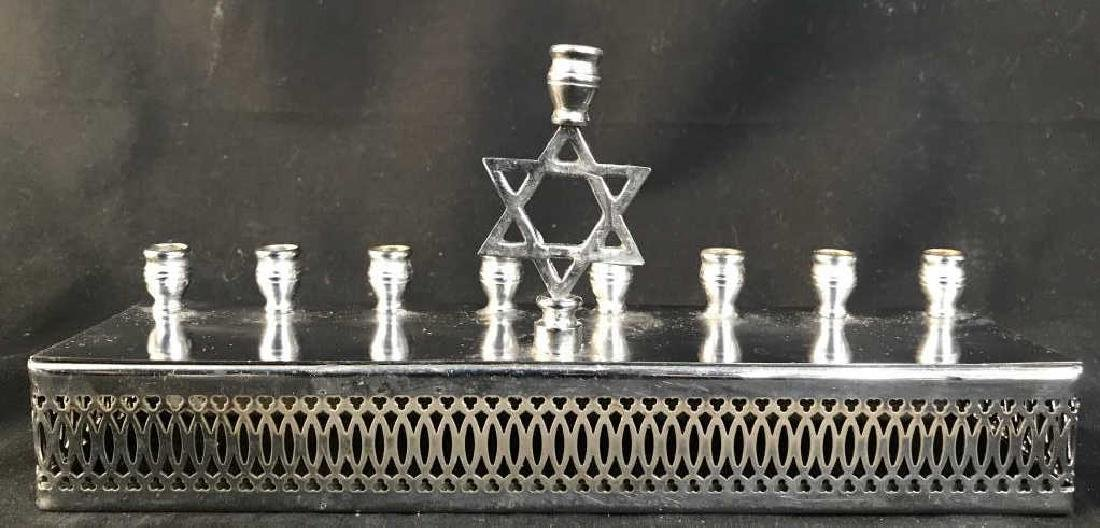 Silver Toned Metal Menorah