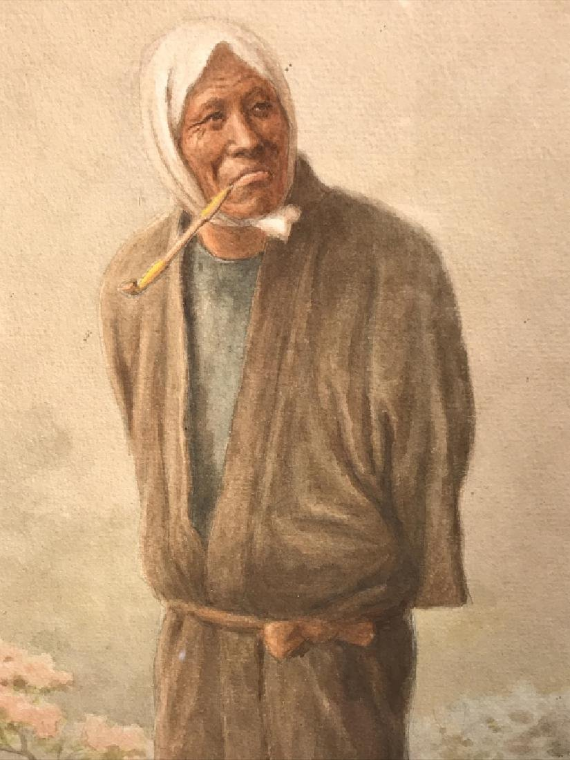 Signed Watercolor, Portrait Of Standing Man