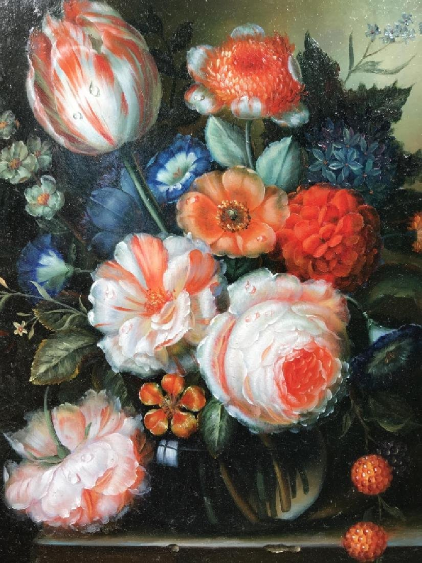 Signed Oil on Board, Dutch-Style Floral Still Life