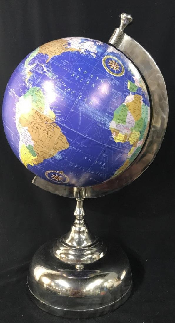 Tabletop Globe On Silver Toned Metal Stand