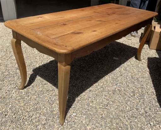 Antique French Pine Wood Dining Table