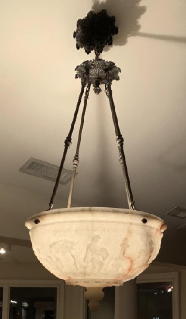 Grand Carved Alabaster Dome Pendant Chandelier