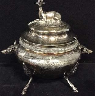 Silver plt Soup Tureen W Animal Figurals