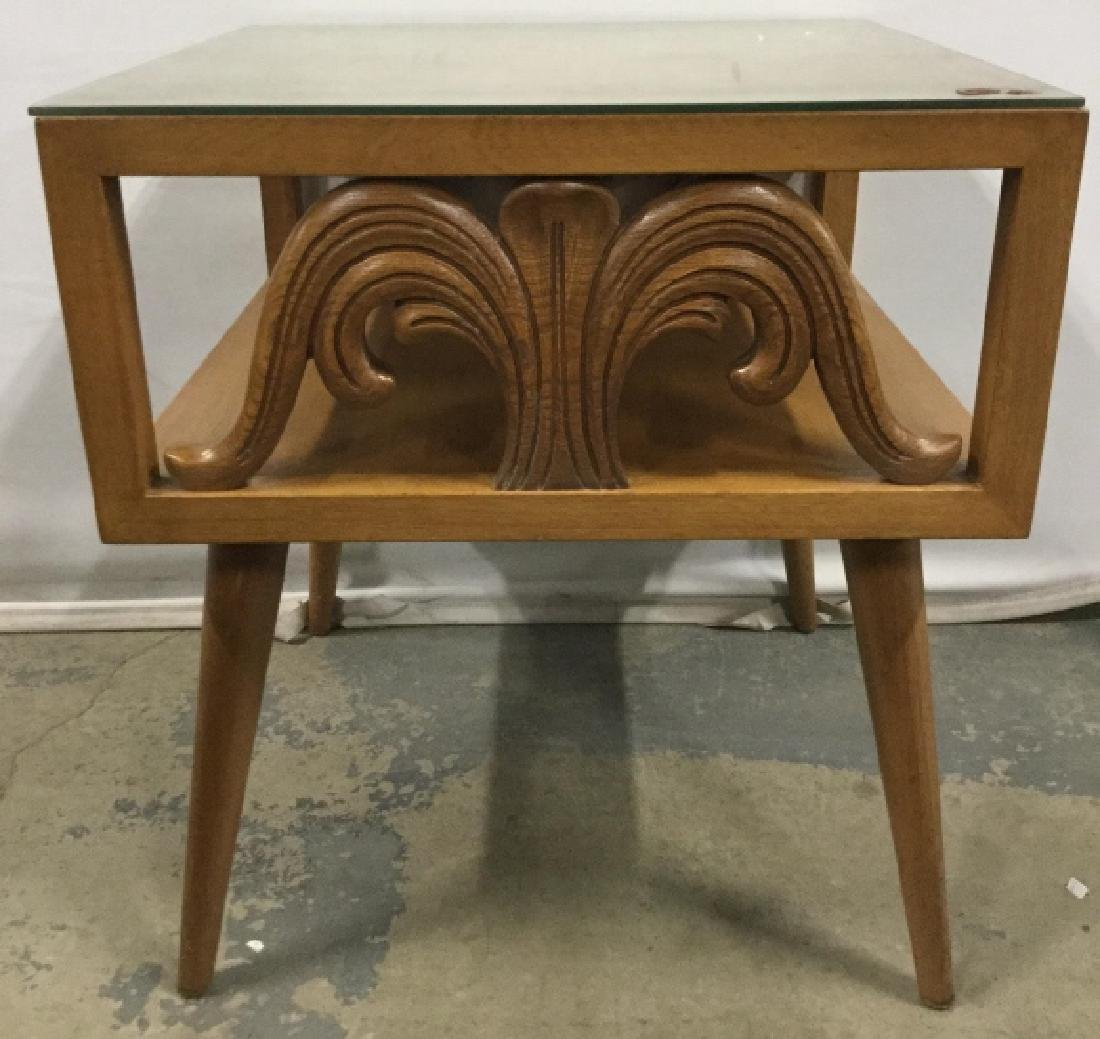 Vintage Carved Wooden Side Table W Glass Top