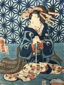 Pair Signed Japanese Woodblock Prints Geisha