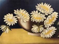Folk Art Oil Painting on Board, Floral Still Life