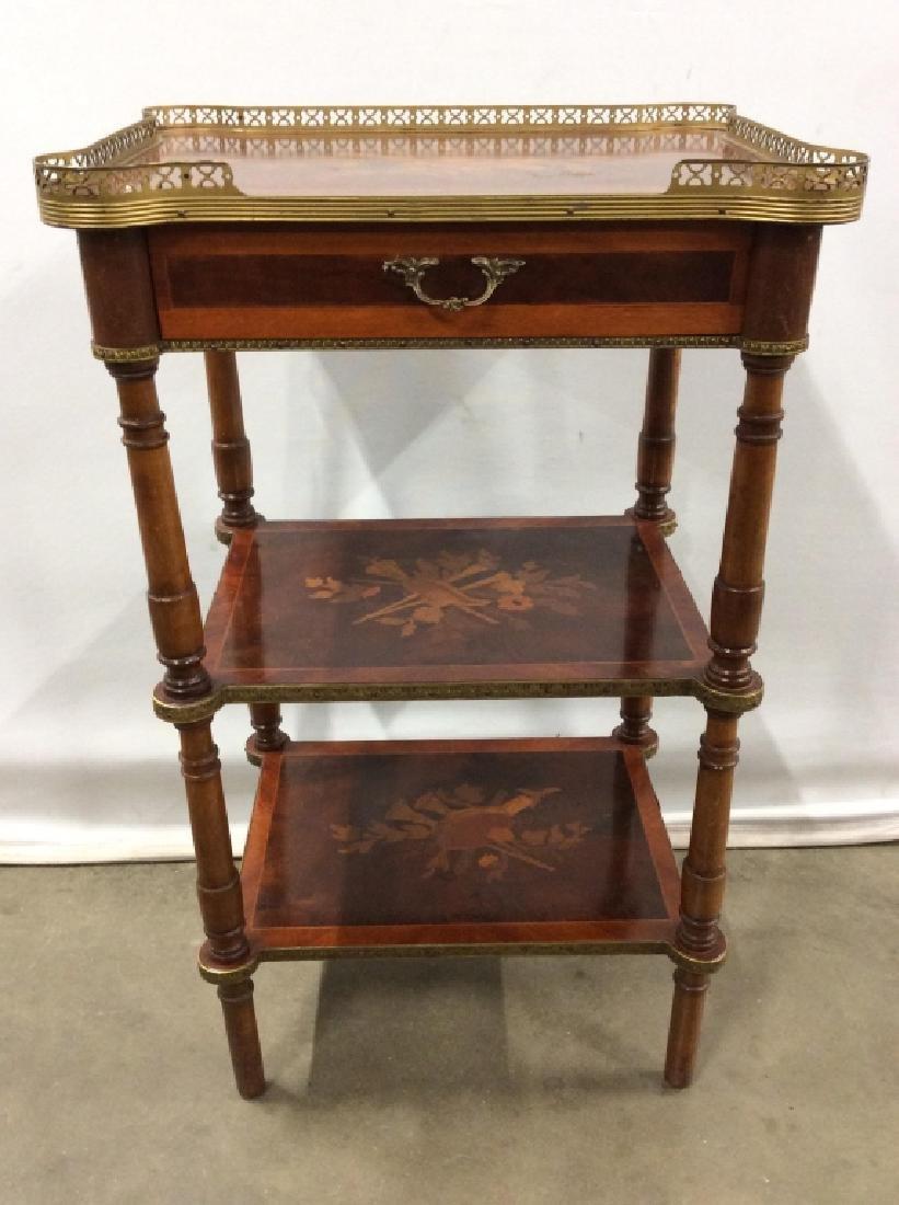Vintage 3 Level Carved Wooden Side Table