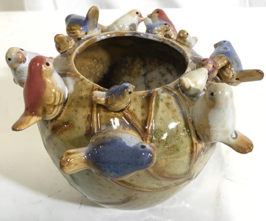 DES POTS Ceramic Vase W Bird Detail