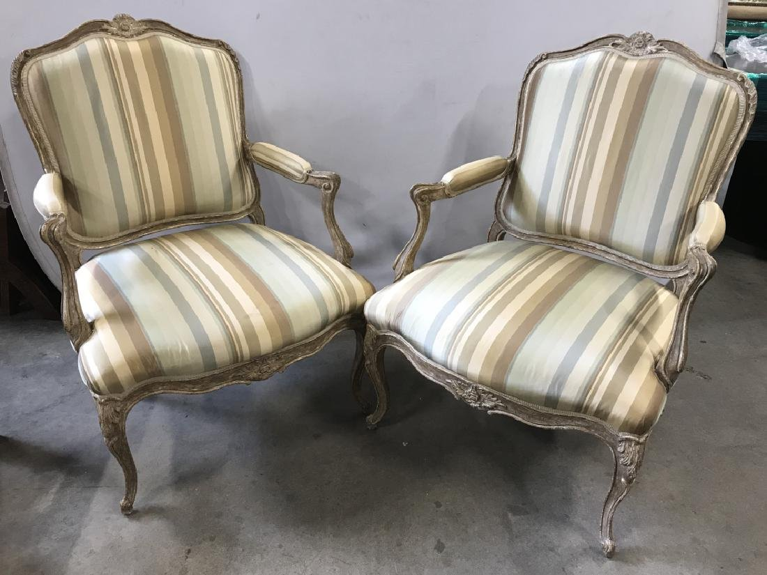 Pair Louis XV Bergere Style Upholstered Arm Chairs