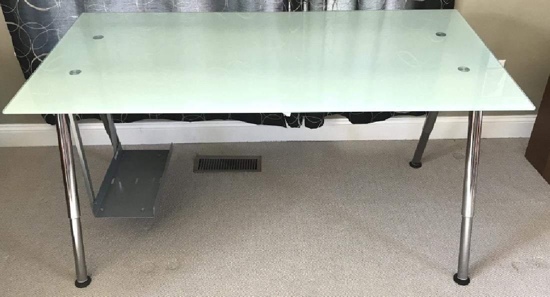 IKEA Glass And Silver Toned Metal Computer Desk