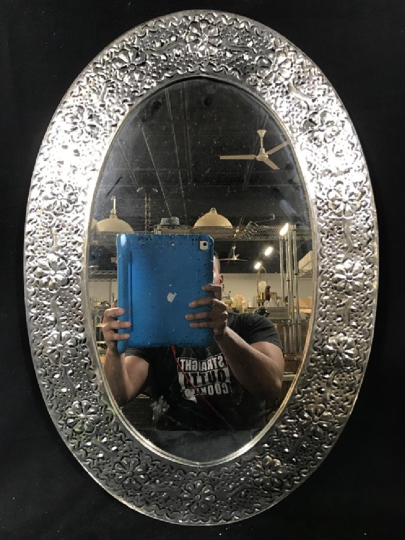 Oval Mirror W Silver Toned Metal Frame