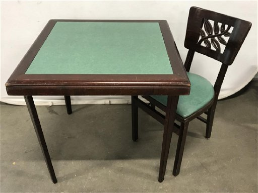 Vintage Stakmore Card Table W 6 Folding Chairs