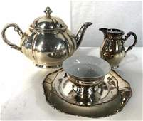 Bavaria Silver Tone Porcelain Partial Tea Service