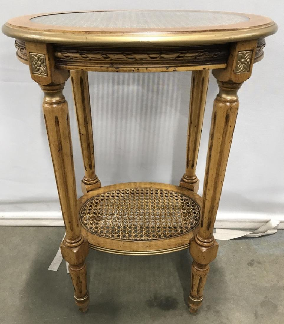 Carved Wooden Side Table W Caned & Glass Top