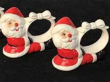 Set 4  Vintage Porcelain Santa Napkin Rings