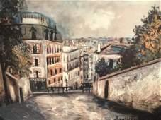 Framed Maurice Utrillo Poster Print, Paris Street