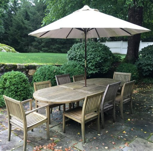 Marvelous Set 10 Barlow Tyrie Teak Table Chairs Umbrella Pdpeps Interior Chair Design Pdpepsorg